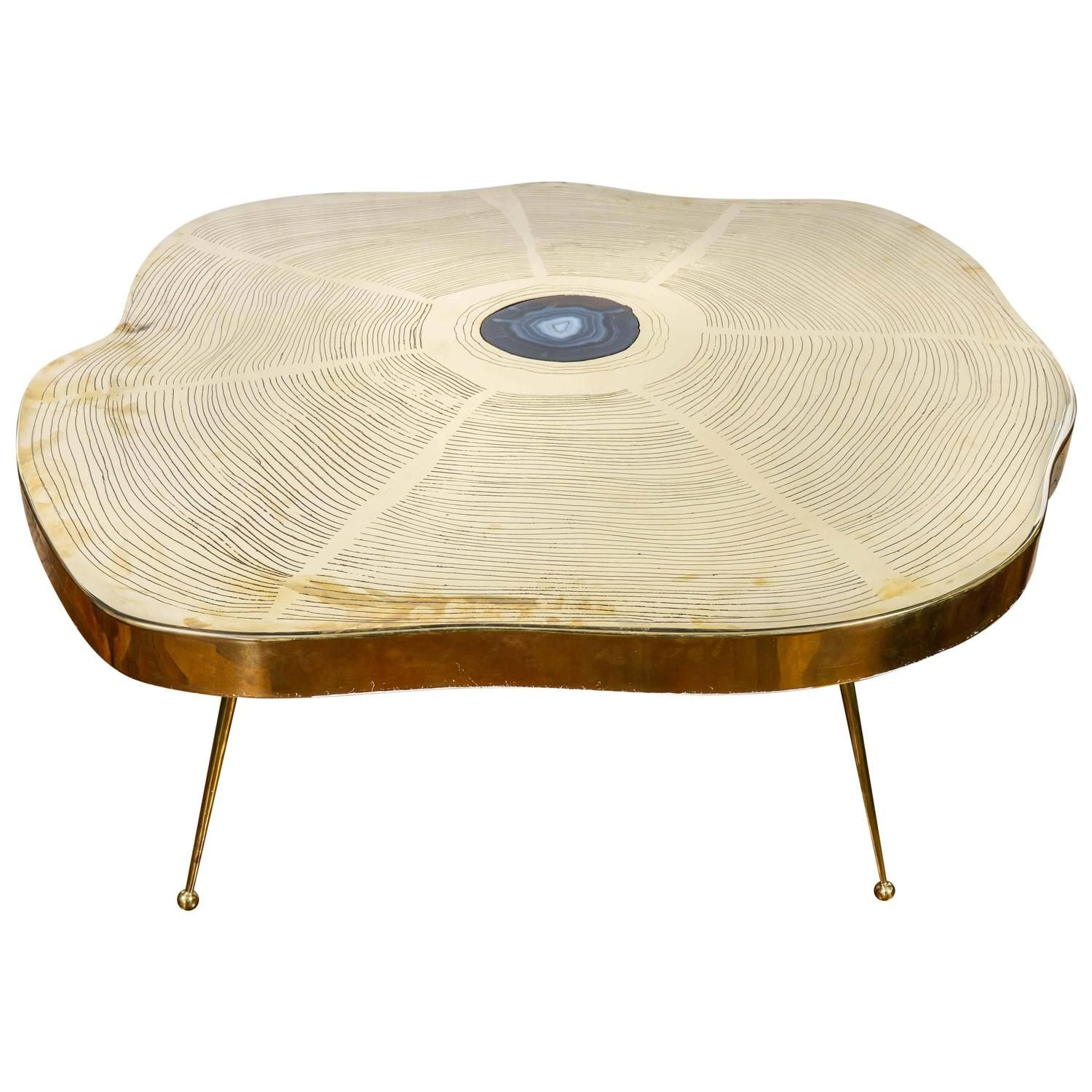 Free Form Brass And Agate Coffee Table | From A Unique Collection Of  Antique And