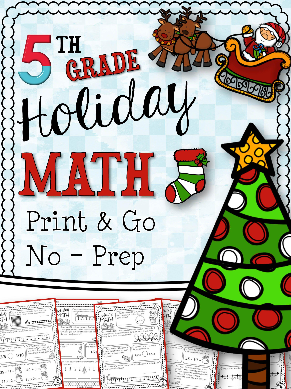 Christmas Math And Language Printables Fifth Grade