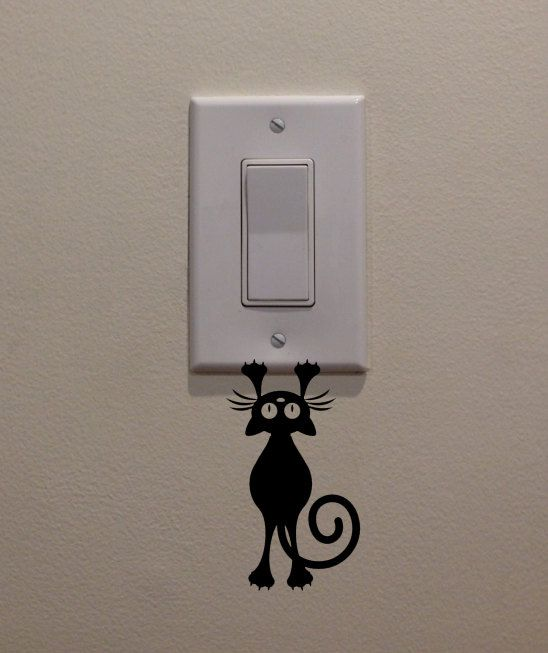 Catkitten Hanging From Light Switch 25x45 Bedroomhome - Dibujos-decorar-paredes