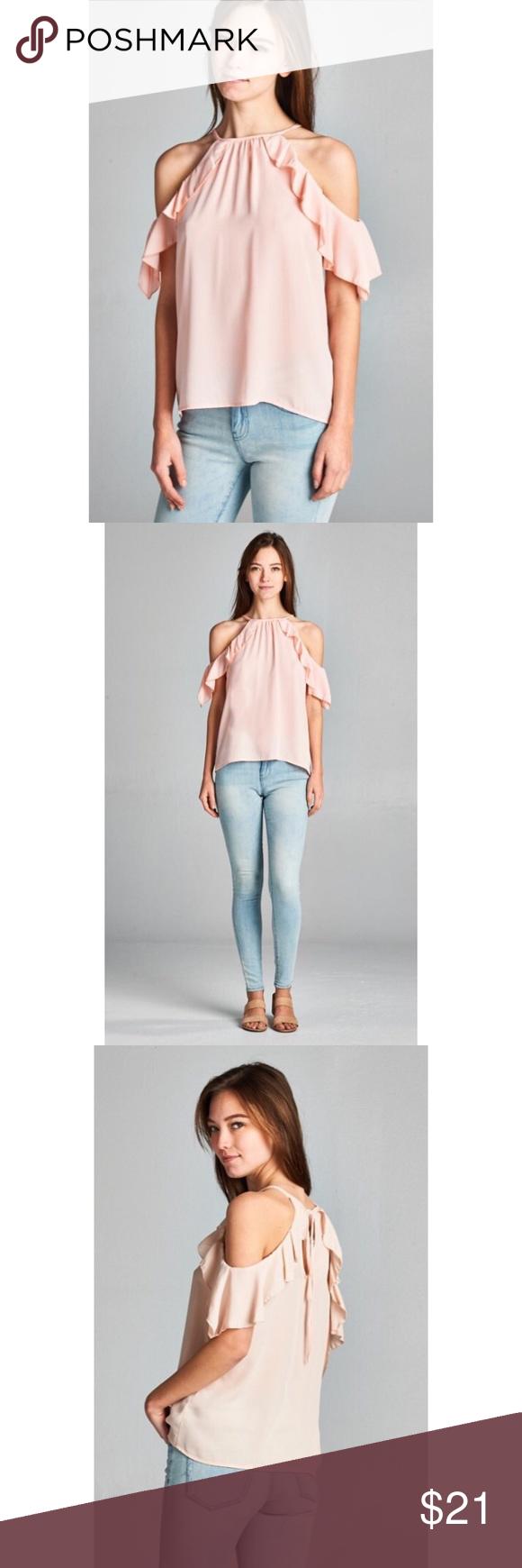 1a57a879e08965 ❗️CLEARANCE❗️Pink Ruffle Cold Shoulder Tunic S M L Blush pink ruffle cold  shoulder tunic top