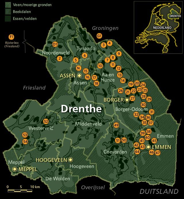 Map province of Drenthe Holland Orange dots indicate hunebedden