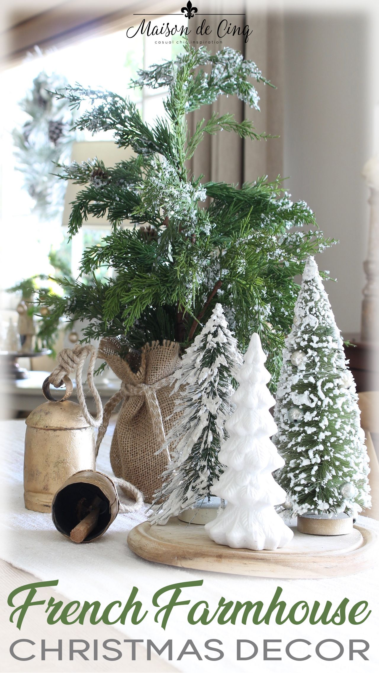 A French Farmhouse Christmas In The Family Room Country Christmas Decorations Holiday Decor French Country Christmas