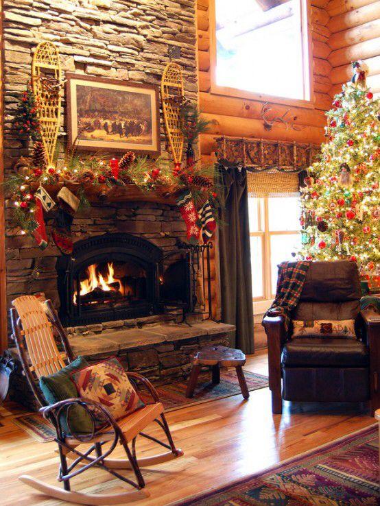 Pin By Ami Rae On Log Houses Homes Christmas Mantel Decorations Christmas Fireplace Cabin Christmas