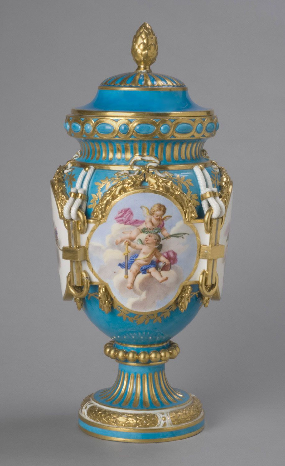 Vase with Lid Model probably by Étienne-Maurice Falconet, French, 1716 - 1791. Made by the Sèvres porcelain factory, Sèvres, France, 1756 - present. Geography: Made in Sèvres, France, Europe Date: c. 1763 Medium: Soft-paste porcelain with enamel and gilt decoration