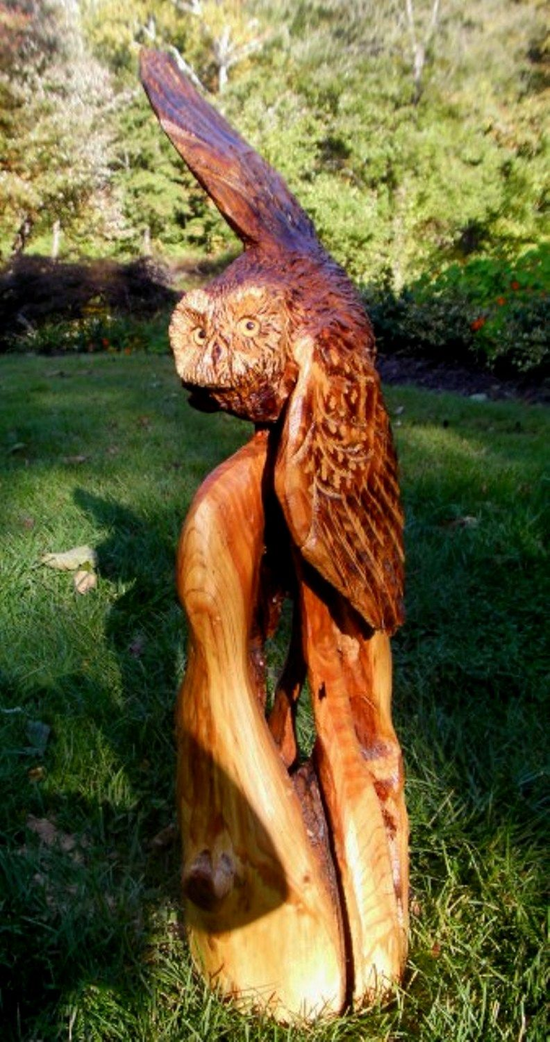 Chainsaw carved owl by Donna Genovese