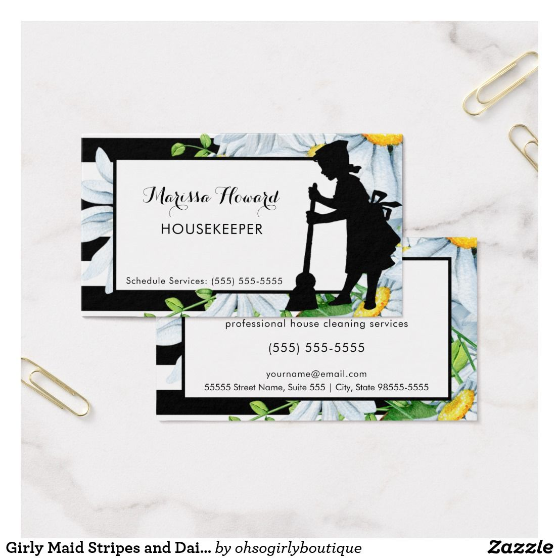 Girly maid stripes and daisy floral housekeeper business card girly maid stripes and daisy floral housekeeper business card magicingreecefo Gallery