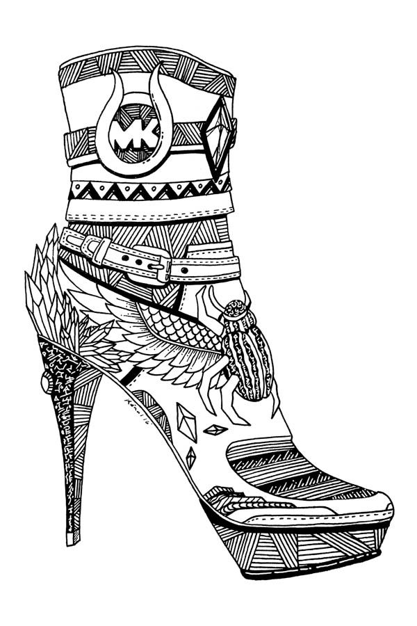 3 Beautiful Michael Kors Shoes Drawings For Fashion Lovers Michael - copy coloring pages of dance shoes