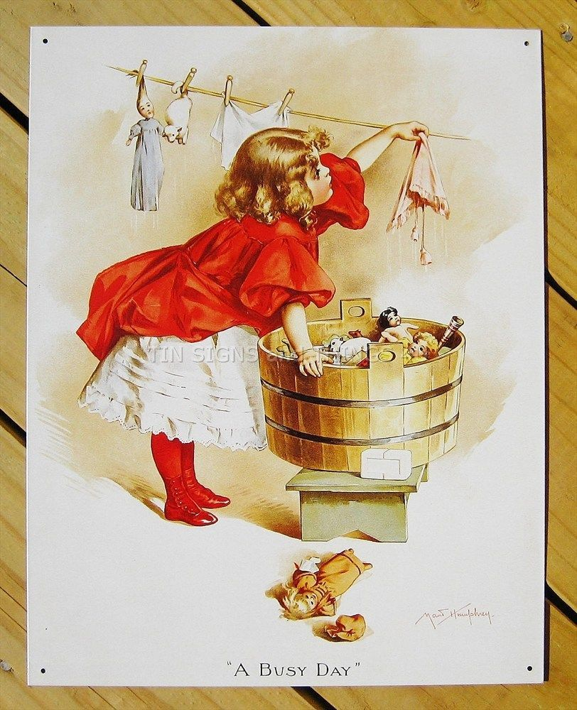 Old Laundry Signs Busy Day Ivory Soap Tin Sign Doll Girl Print Art Vtg Laundry Metal
