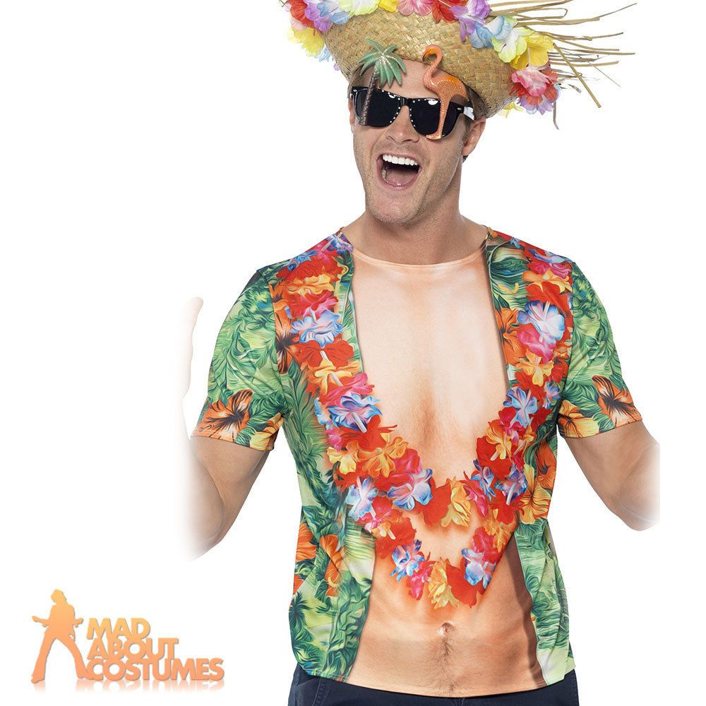 Adult Hawaiian T-Shirt Mens Hula Luau Fancy Dress Outfit New | Hawaiian | Pinterest | Fancy ...