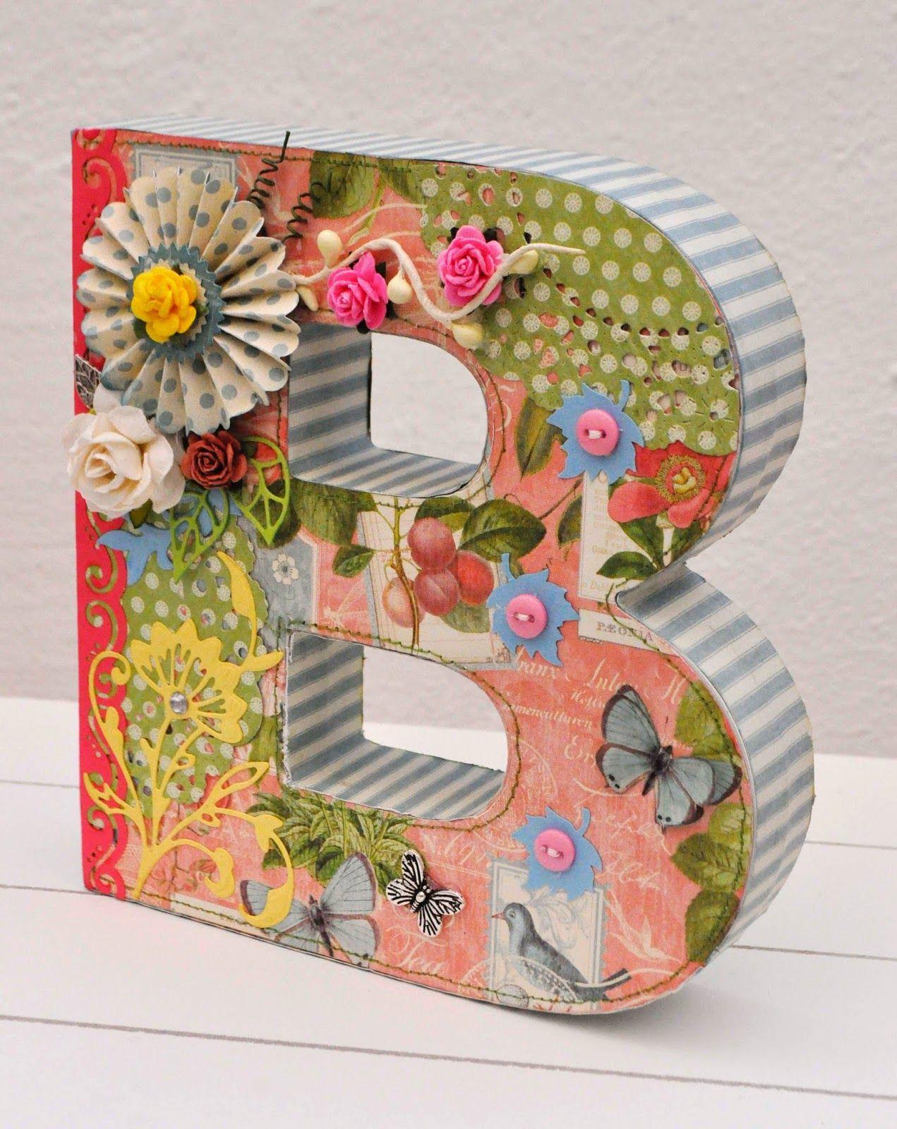 Letra b decorada con scrapbooking letter b letras decoradas letras decoradas letras y - Letras decoradas infantiles ...
