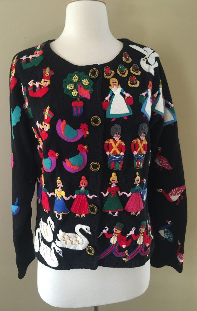 Rare Michael Simon Twelve 12 Days Of Christmas Sweater Sz M