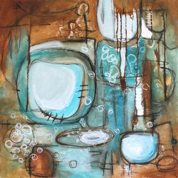 Blue Brown Abstract Painting Circles Geometric Leah Fitts