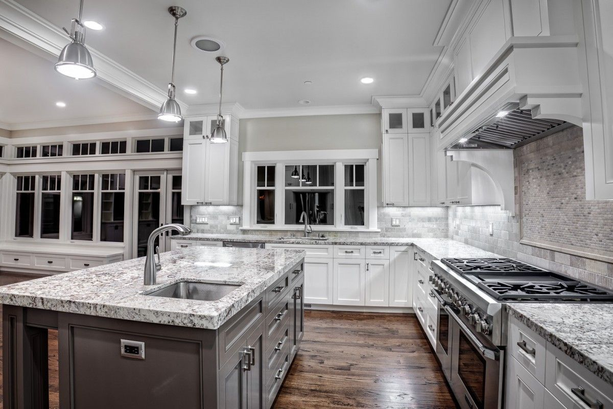 High End+granite+countertops | With White Cabinets And Granite Countertops  With Silver Granite .