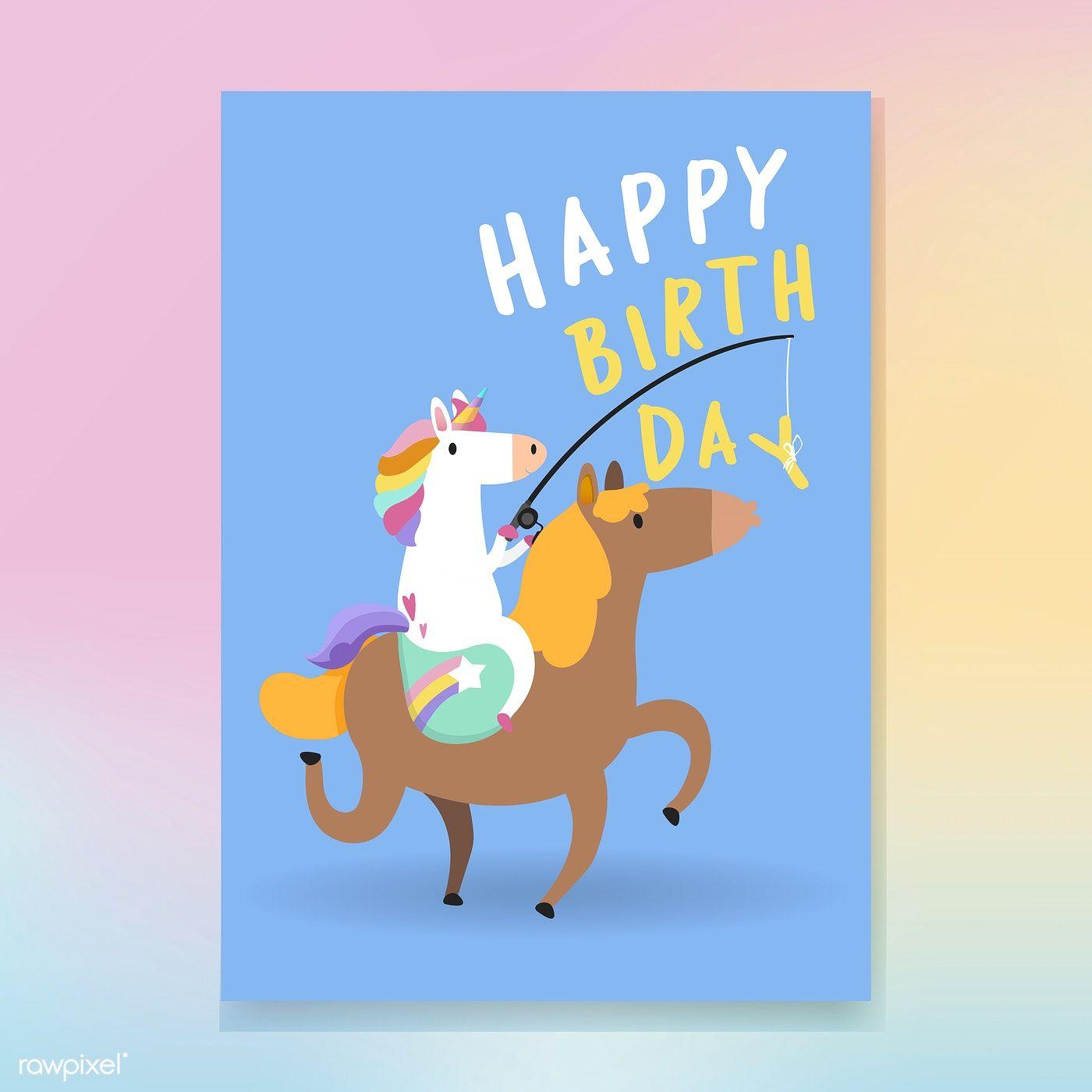 happy birthday unicorn card vector  free image