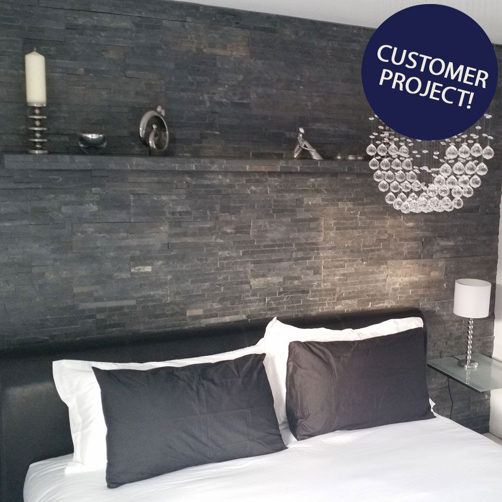 Ledgestone Thin Black Split Face Tiles Feature Wall Bedroom