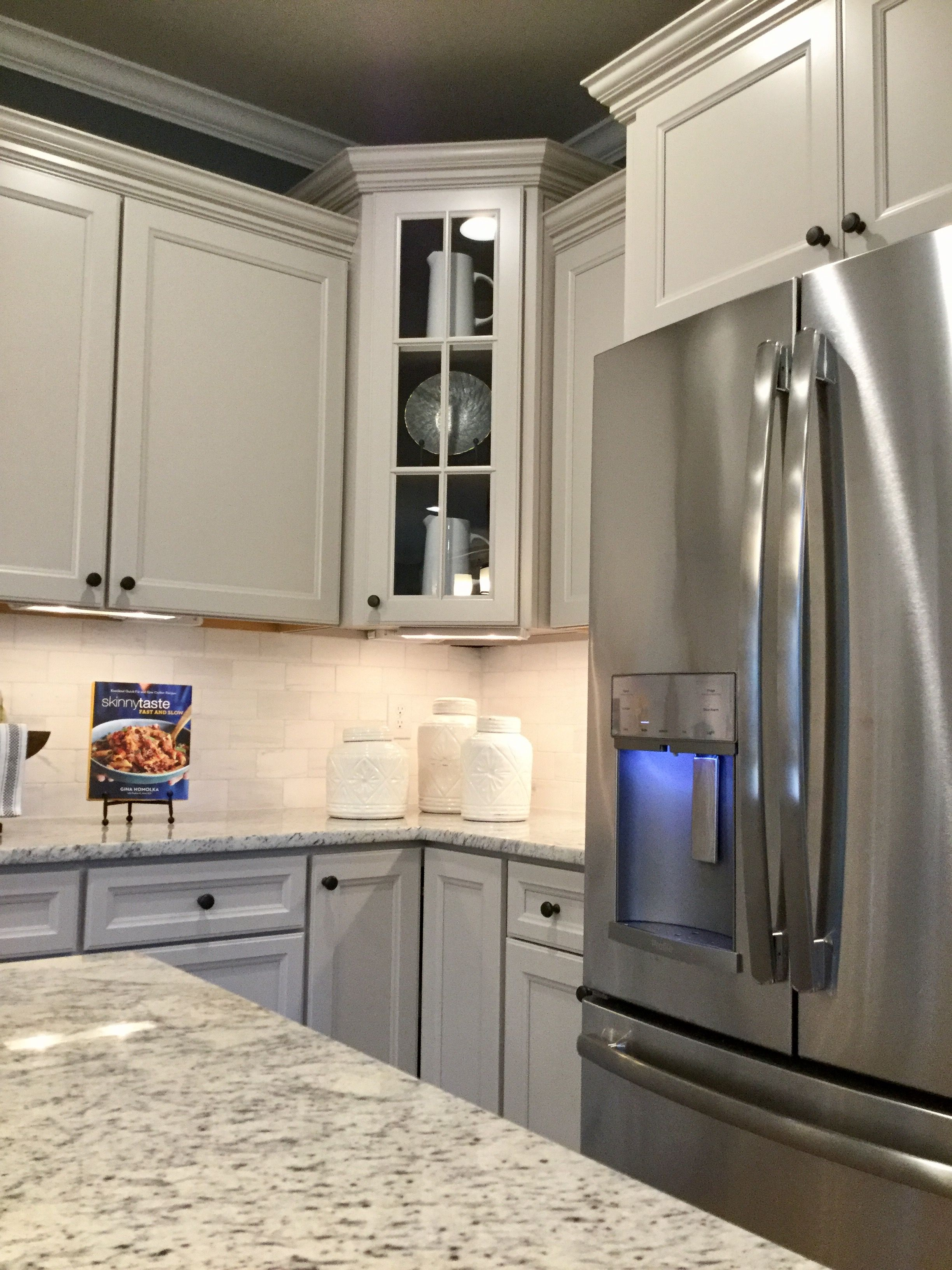 Durham Glacier Gray Cabinets With Chefs Kitchen Crown Molding