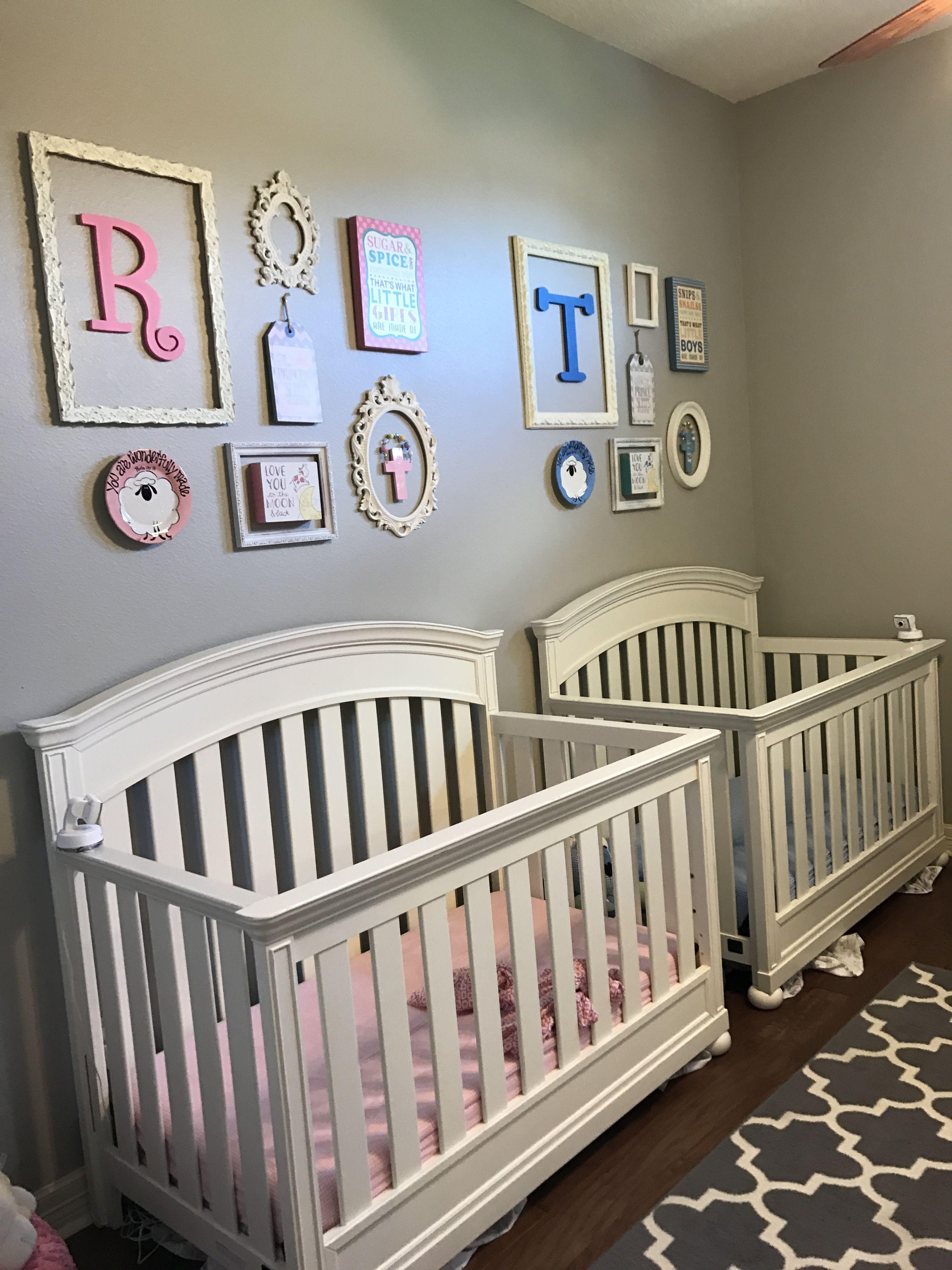 Twin nursery for boy/girl twins. Vintage nursery rhymes ...