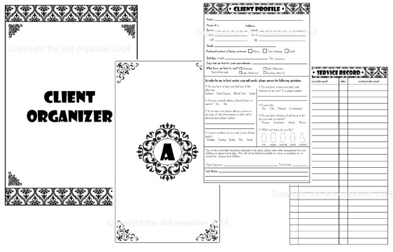 Nail Technician Or Hair Stylist Client Organizer Black And White Design Nail Technician