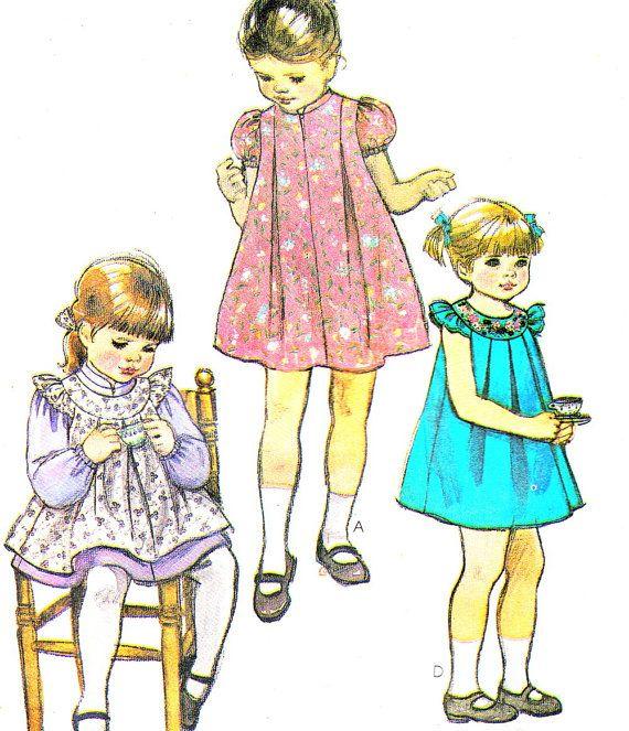 1980s Girls Dress Pattern McCalls 7932 Pinafore by paneenjerez, $8.00