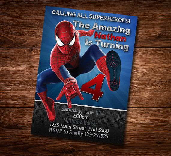 Spiderman Birthday Card Customized Theme Invite Template DIY PSD Digital Download