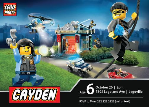 Lego City Police Birthday Invitation Yum Lego Birthday Lego
