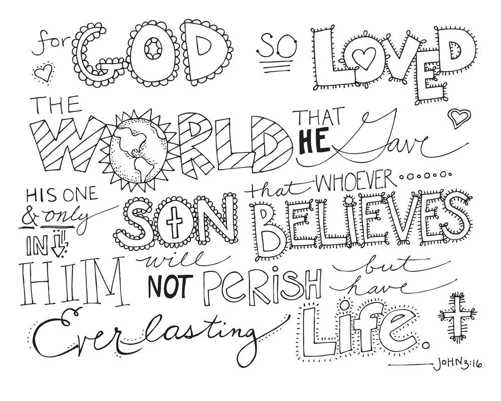 Printable coloring pages religious items - John 3 16 Coloring Page Item Details Shop Policies