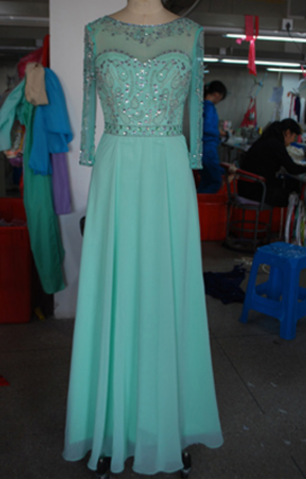 722d85dae1 New Arrival Long Sleeves High Neck Mint Chiffon Prom Dress, A Line ...