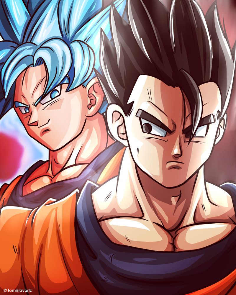 Fan Art Of Dragon Ball Super Episode 90 Mystic Gohan Versus Goku In Full Kaioken Super Saiyan Blue Goku Goku And Gohan Goku Anime