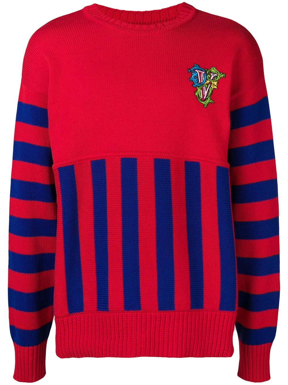 cec76c05f5 Versace crew neck panelled sweater - Red in 2019 | Products ...