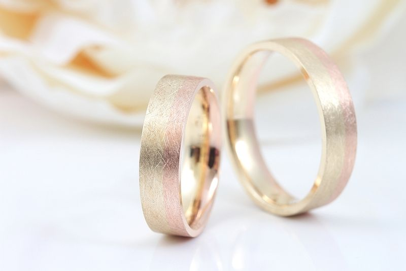 BiColor Eheringe 585 Rotgold Gelbgold  Ring Wedding and Matching wedding rings