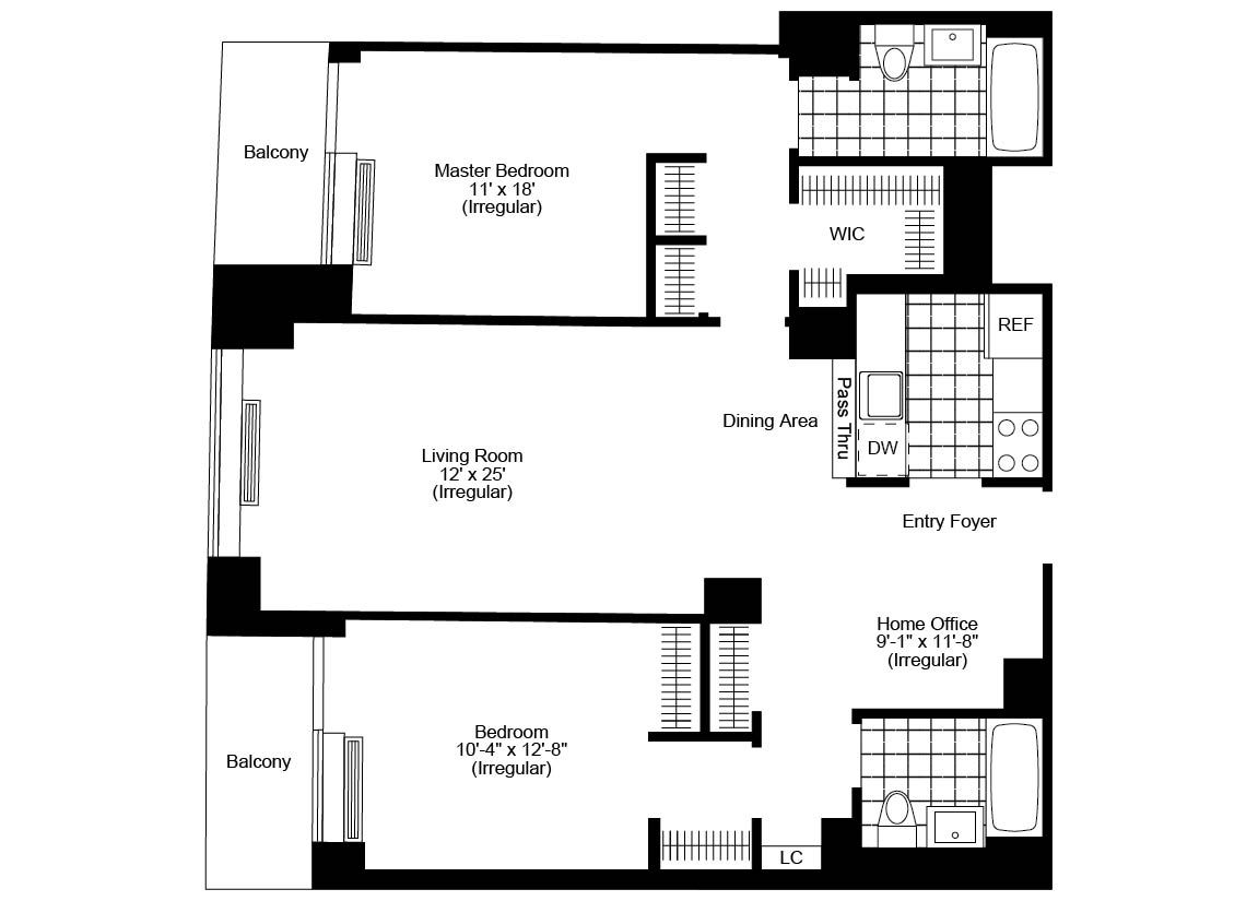 Homes with 2 master bedrooms   Bed  Bath Luxury Apartment Floor Plan  apartment  Pinterest