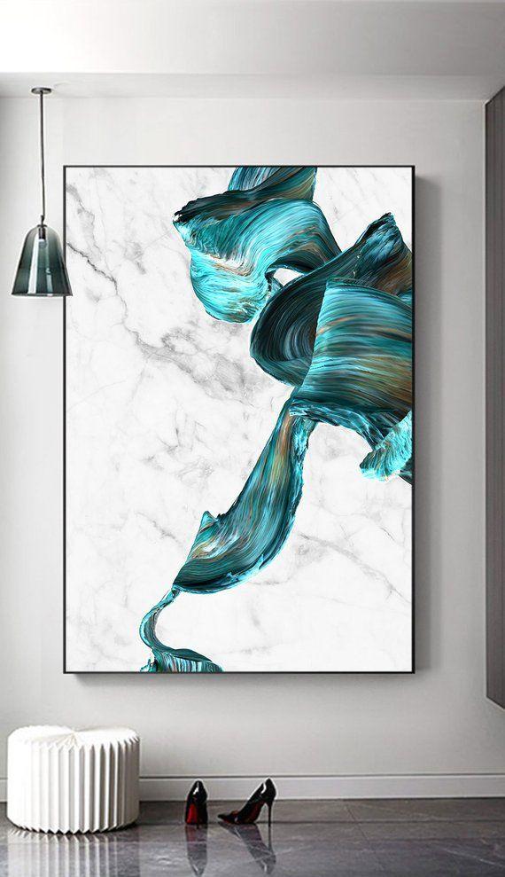 Abstract Marble Print, Wall Art Prints, Turquoise Marble Print, Modern Abstract Art, Turquoise Home