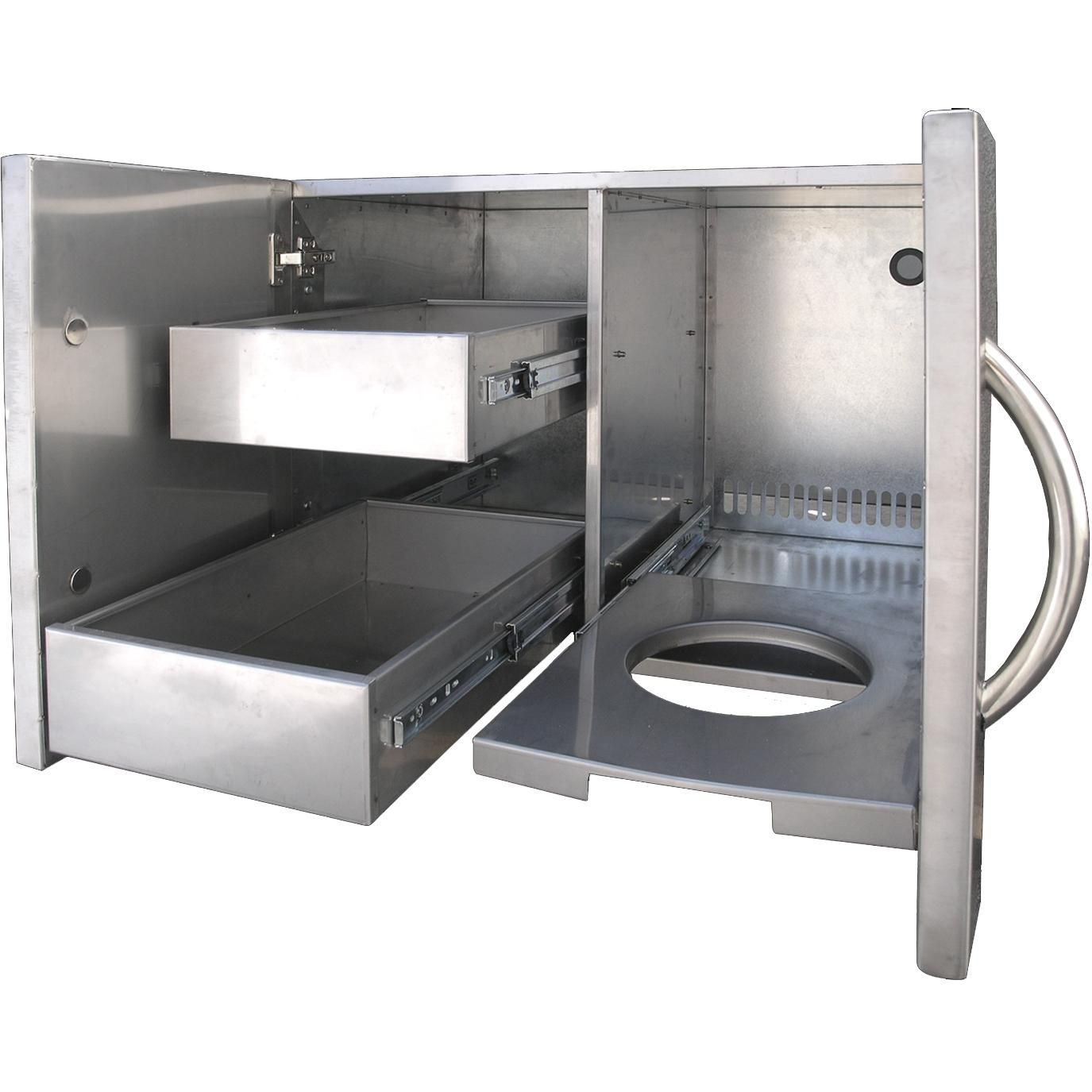 Cal flame inch enclosed cabinet with drawers and rollout propane