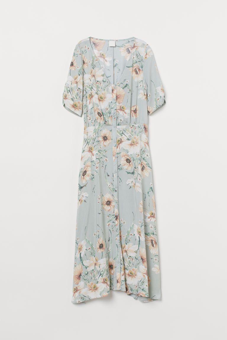 Calf length Dress   Light green/floral   Ladies   H&M US   Calf ...