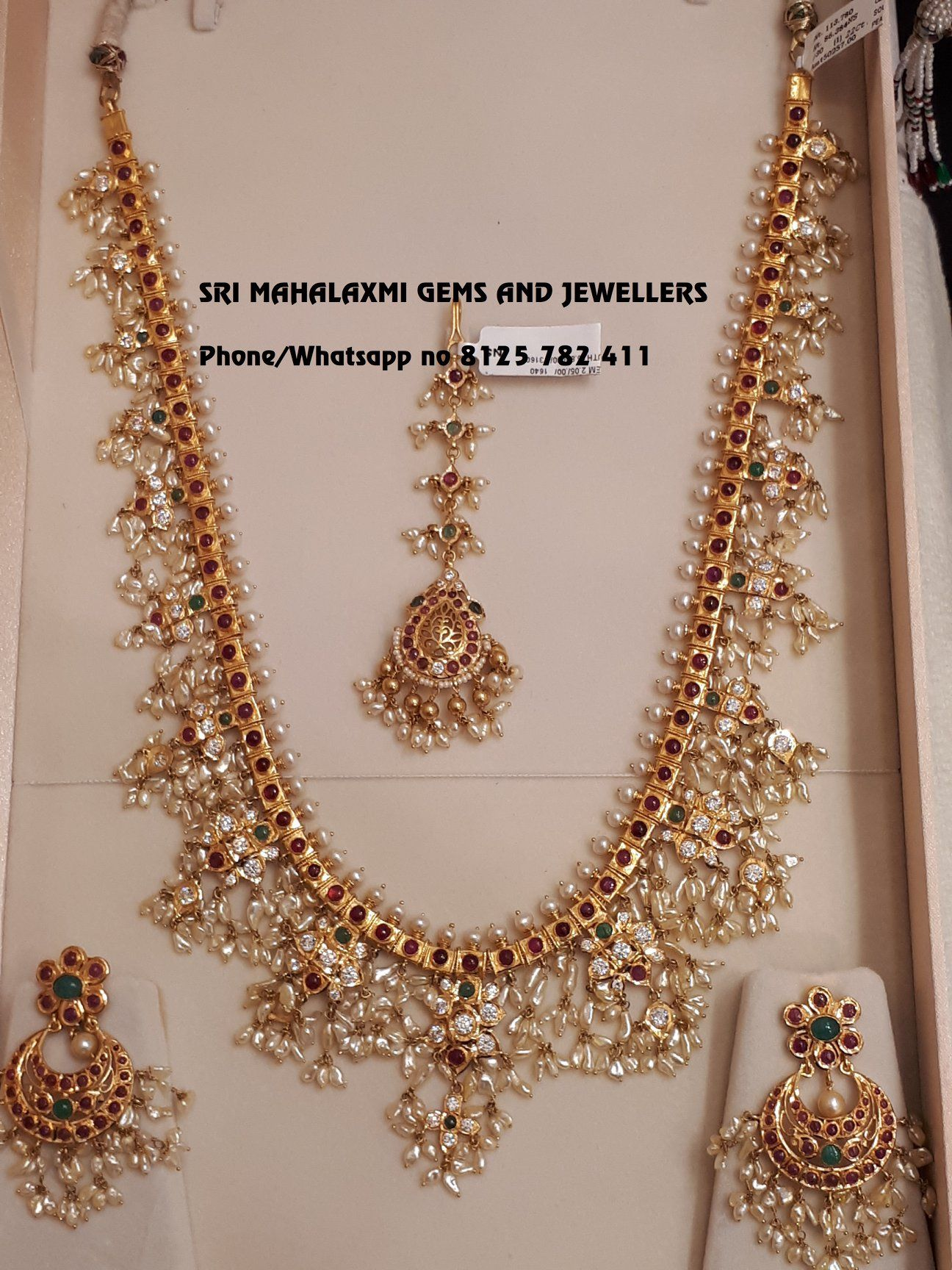 018a1b67021b5 Light weight Guttapusal haaram set with ear rings Tika. Beautiful ...