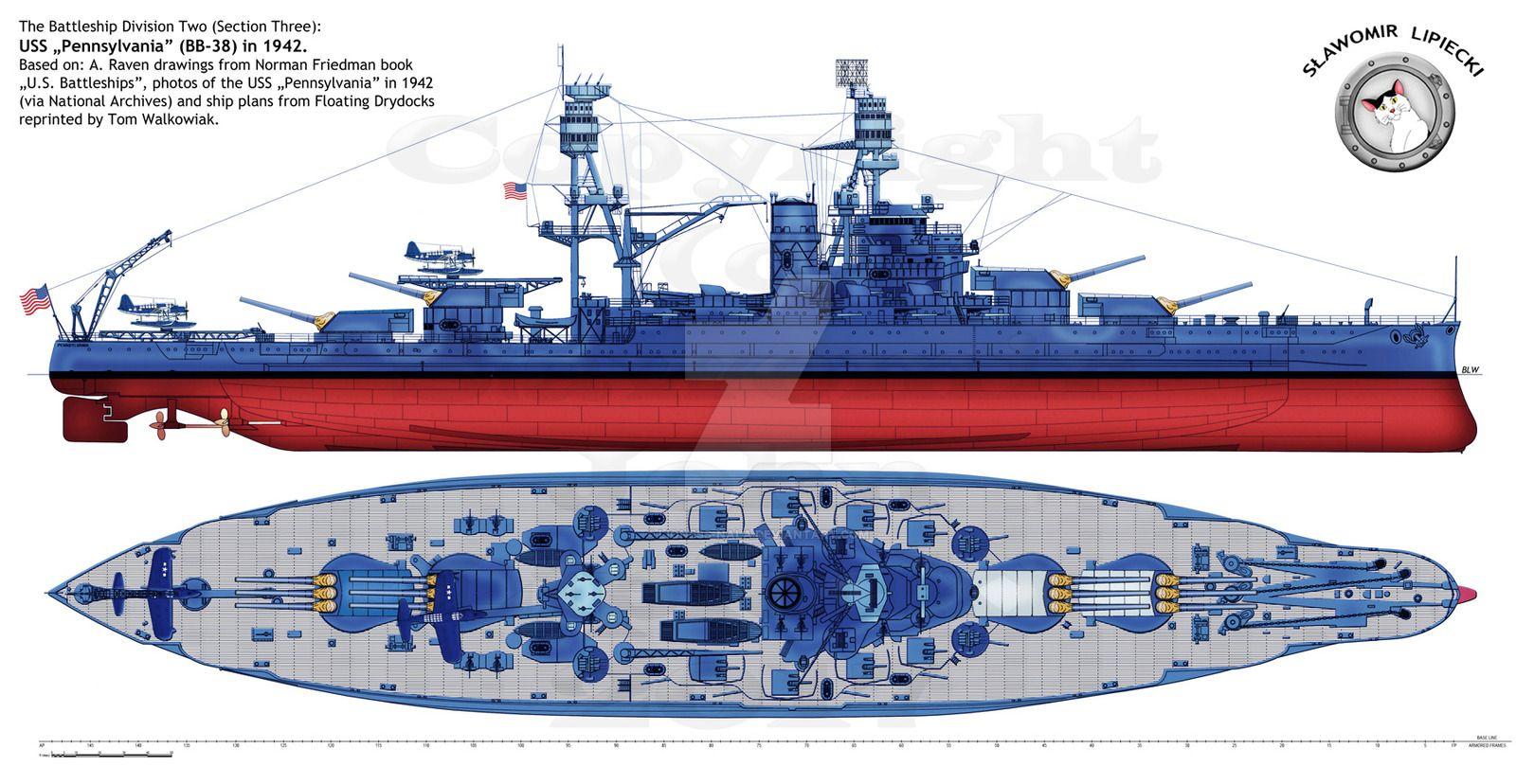 uss pennsylvania bb 38 1942 lioness nala warships diagram 182naval battleship diagram [ 1600 x 828 Pixel ]