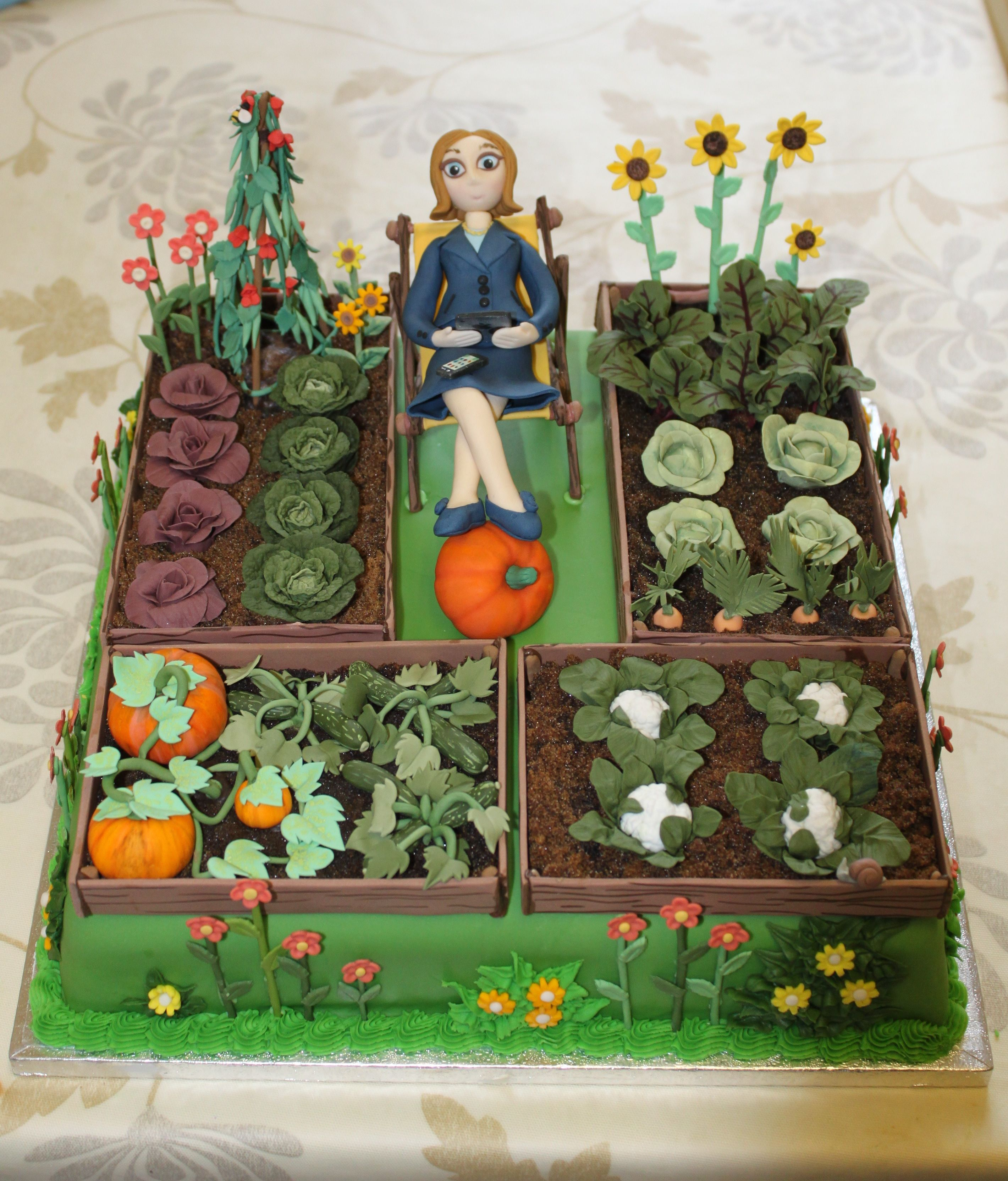 My finished allotment cake! in 2019 | Garden birthday cake ...