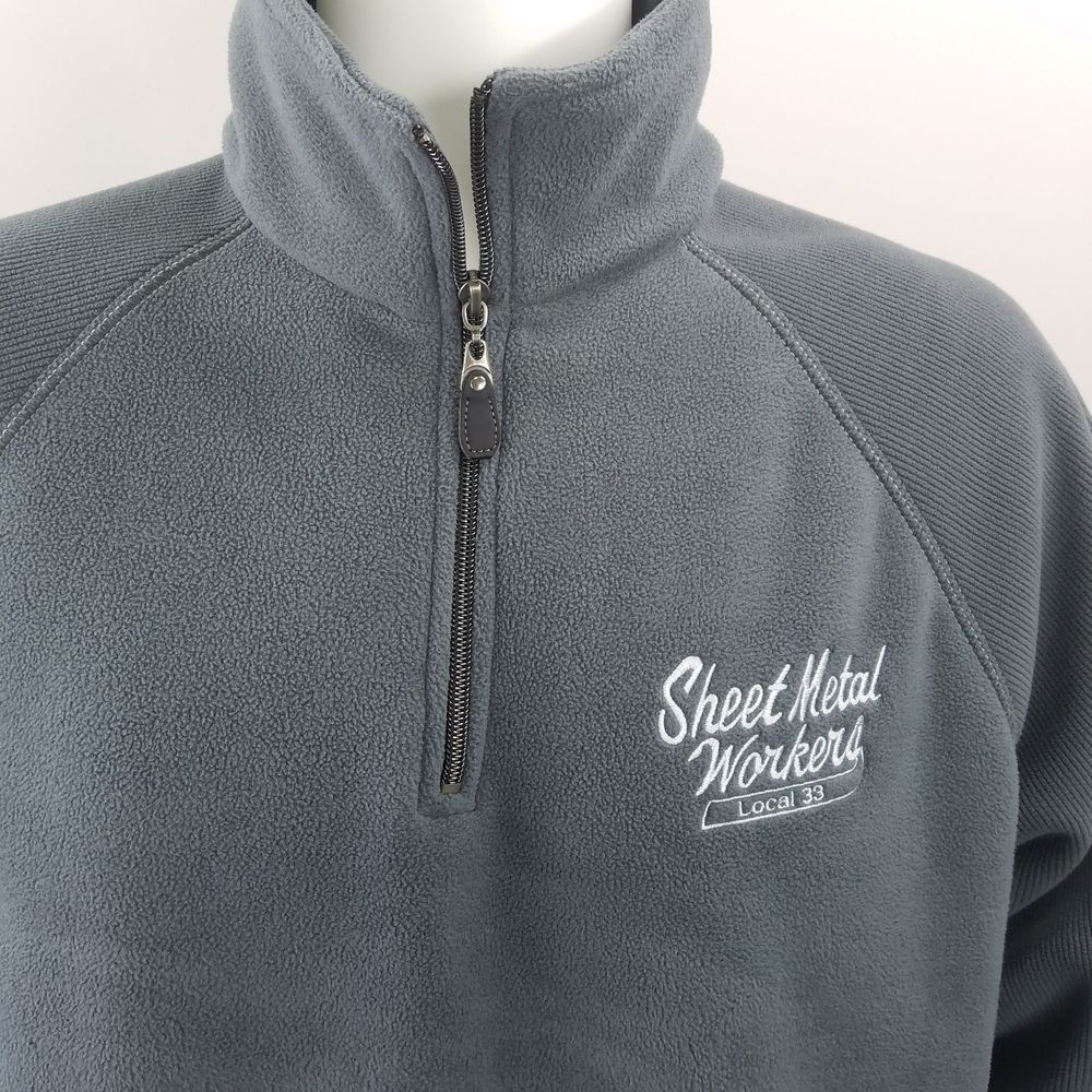 Details about vintage pullover fleece jacket sheet metal workers sz