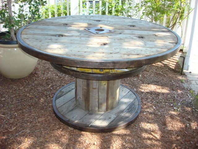tables from found cable spools