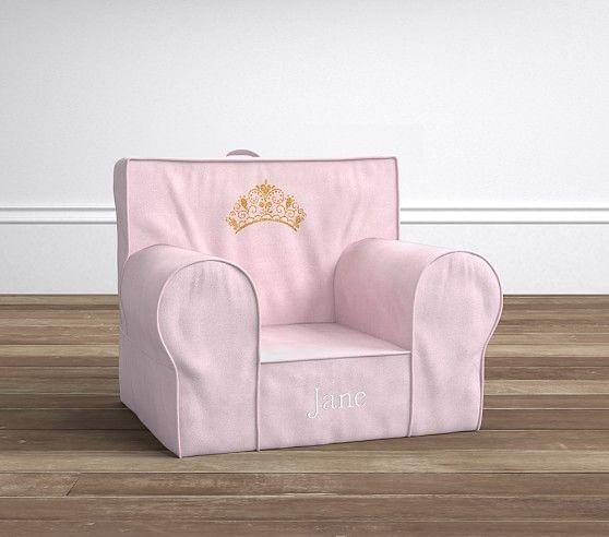 Light Pink Velvet Crown Anywhere Chair Pottery Barn Kids
