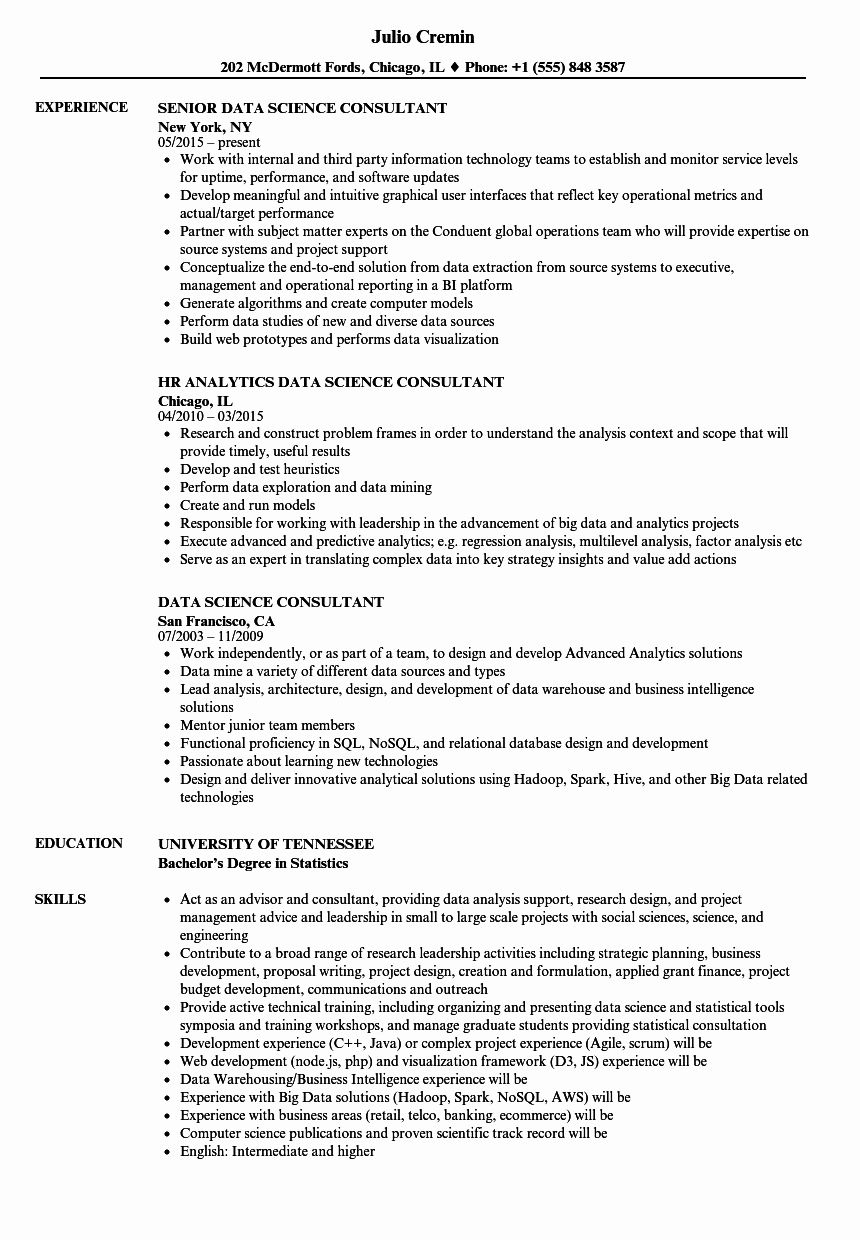 Data Science Resume Example Best Of Data Science