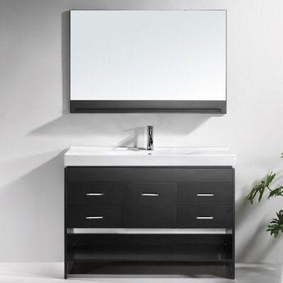 Carstens 47 Single Bathroom Vanity Set With Ceramic Top And Mirror Bathroom Vanity Vanity Bathroom Vanity Cabinets