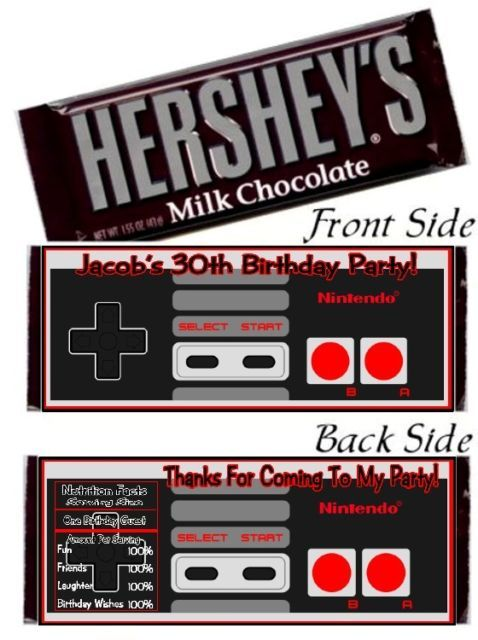 12 Nintendo NES Controller Birthday Party Candy Hershey Bar Wrappers
