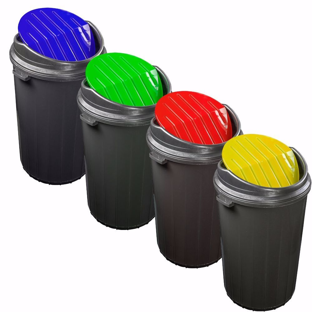Plastic Round Shape Recycle Recycling Bin 25l 50l Waste Rubbish Bins Home Office