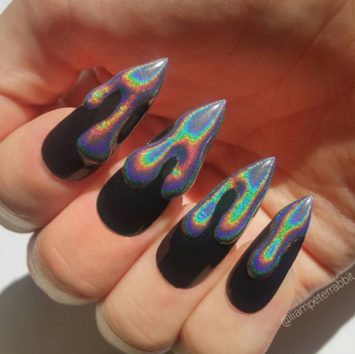 Holographic Color Aesthetic Holloween Nails Holographic Nails Goth Nails