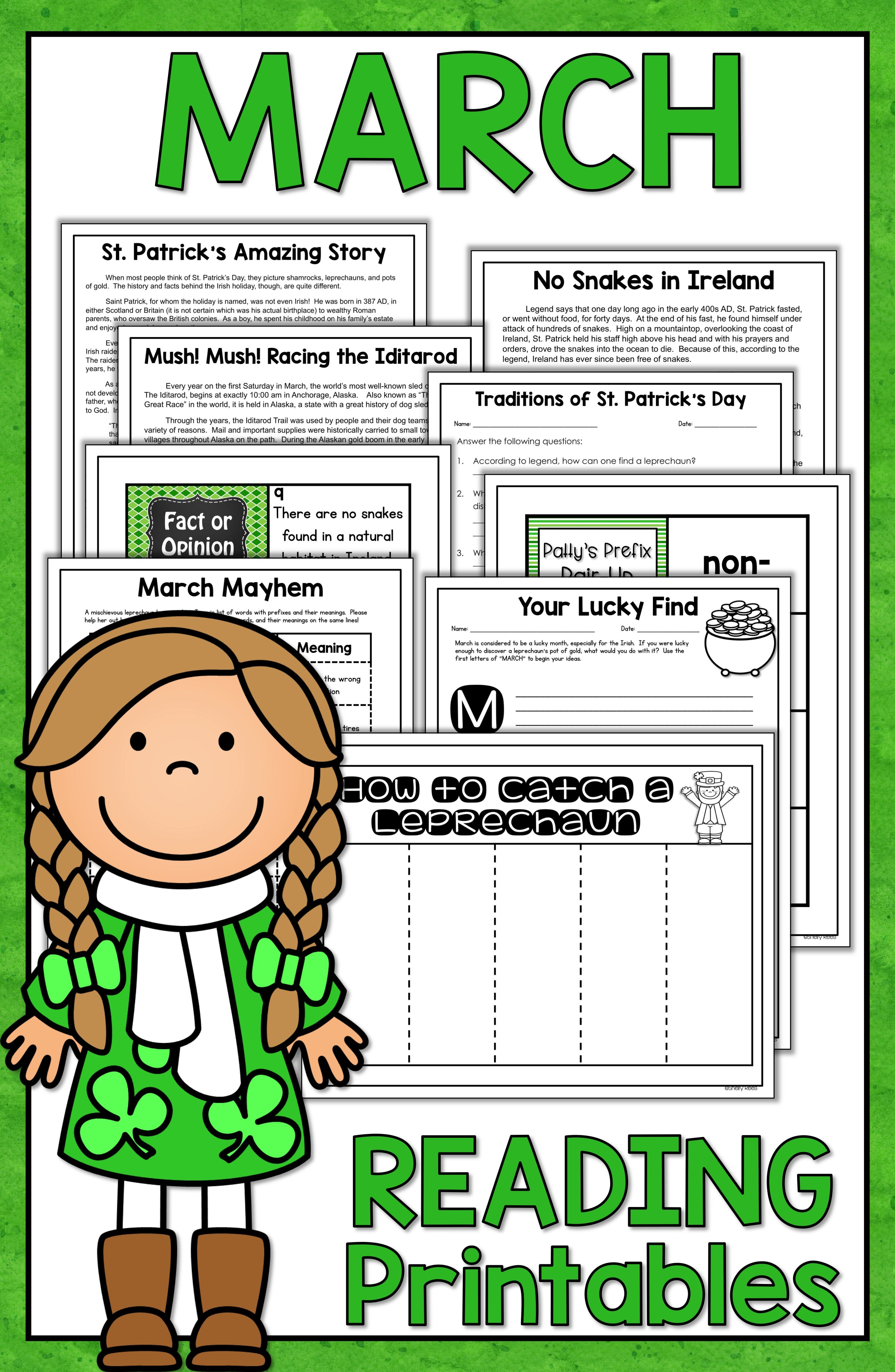 Reading Comprehension Passages And Questions March St Patricks