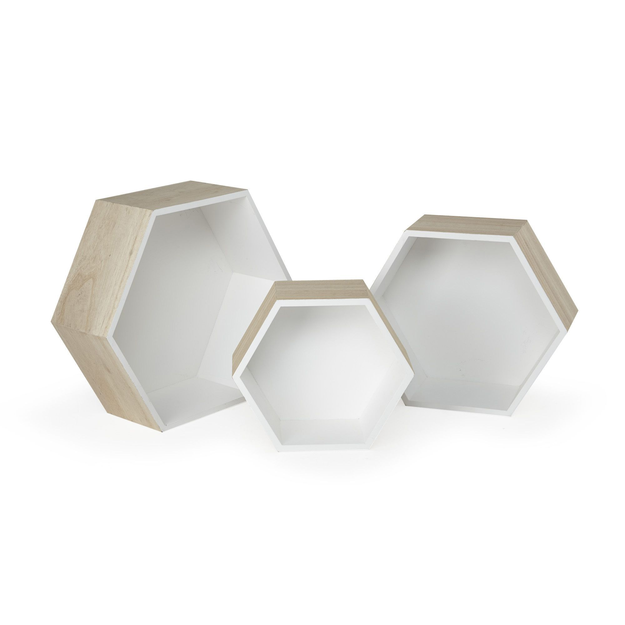 Etagère hexagonale petit modèle Blanc - Rush - La décoration murale ...