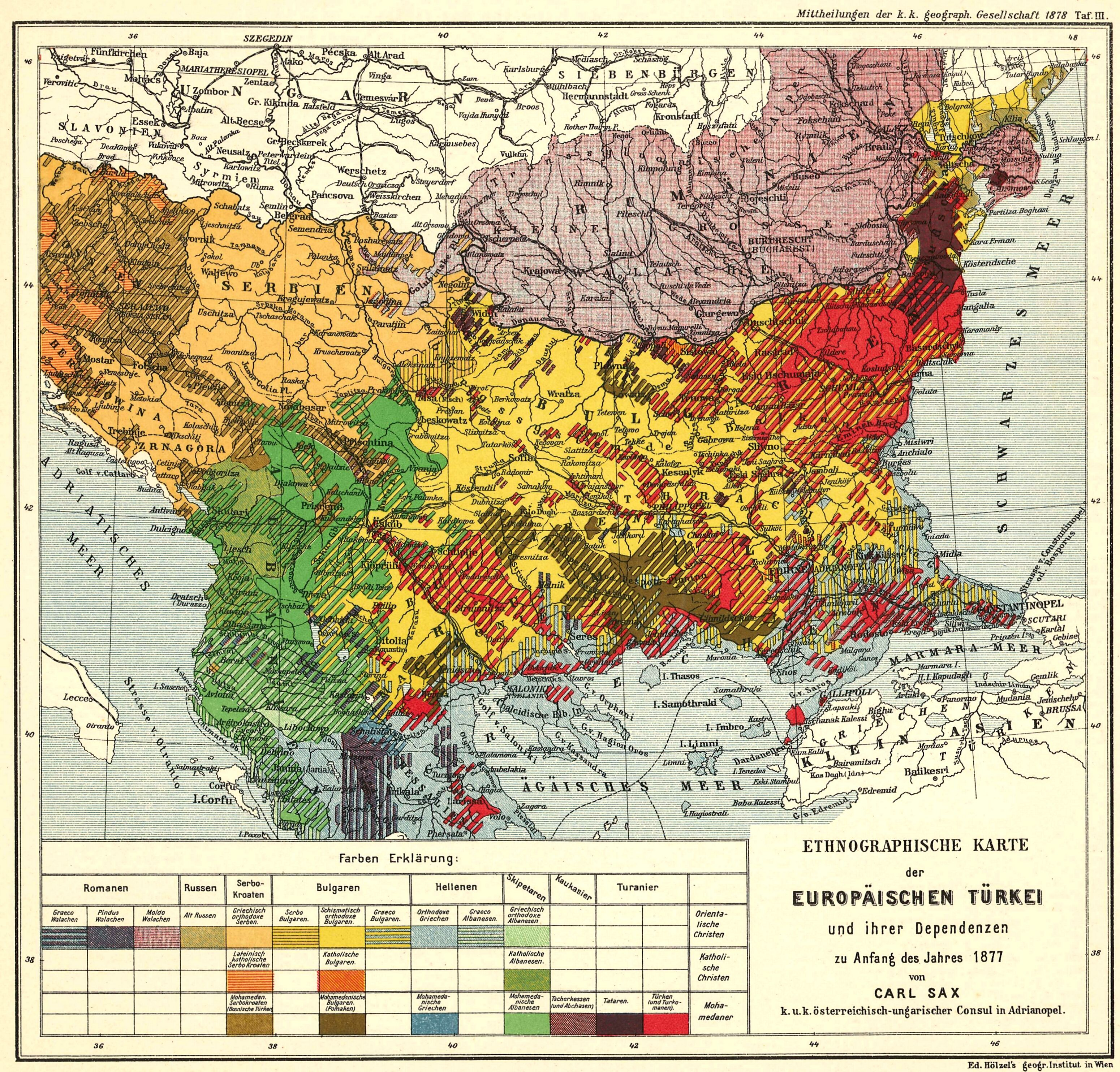 1877 Ethnic Map Of The Ottoman Balkans Map Balkans Turkey Maps