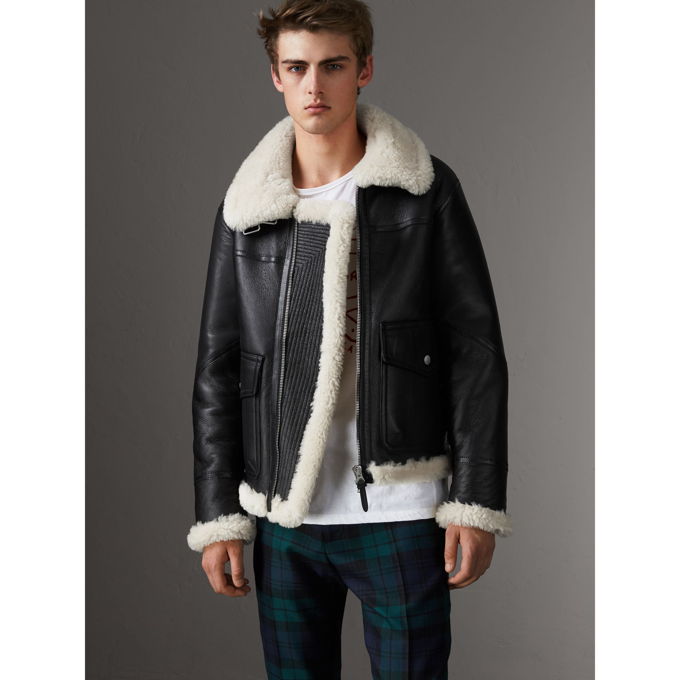 A classic aviator jacket in tactile shearling with a