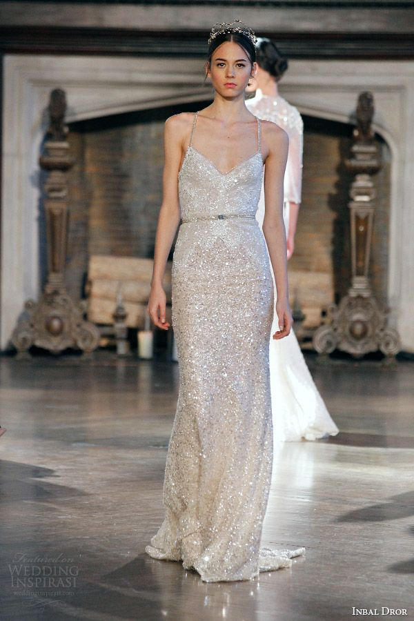 Inbal Dror Bridal Fall Winter 2017 Gown 8 Sleeveless Sheath Sequin Wedding Dress Straps